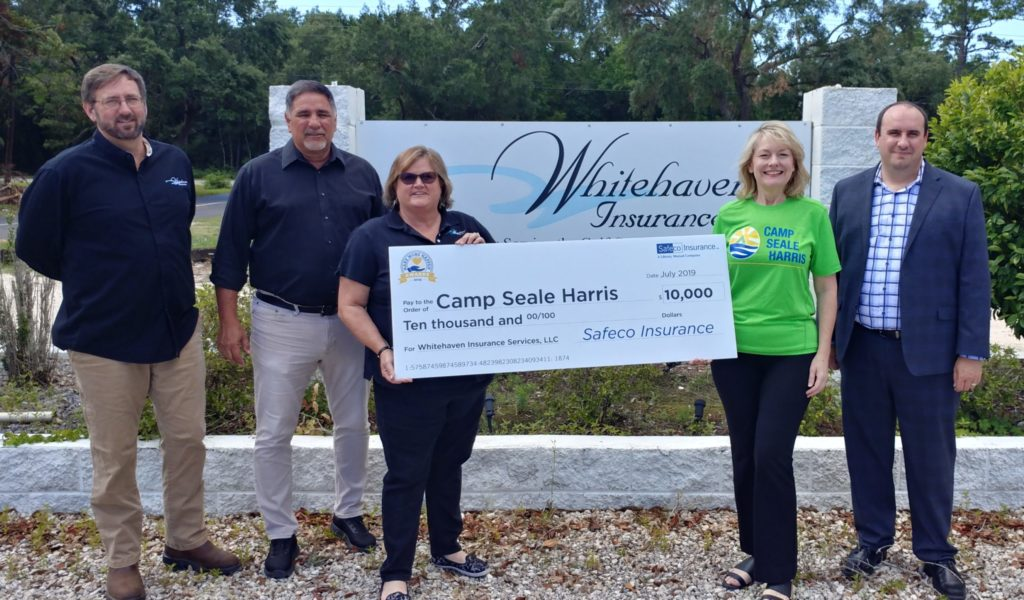 Whitehaven Insurance and Camp Seale Harris check presentation