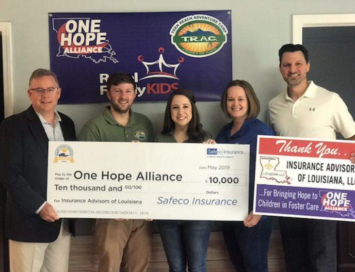 Insurance Advisors of Louisiana and One Hope Alliance check presentation
